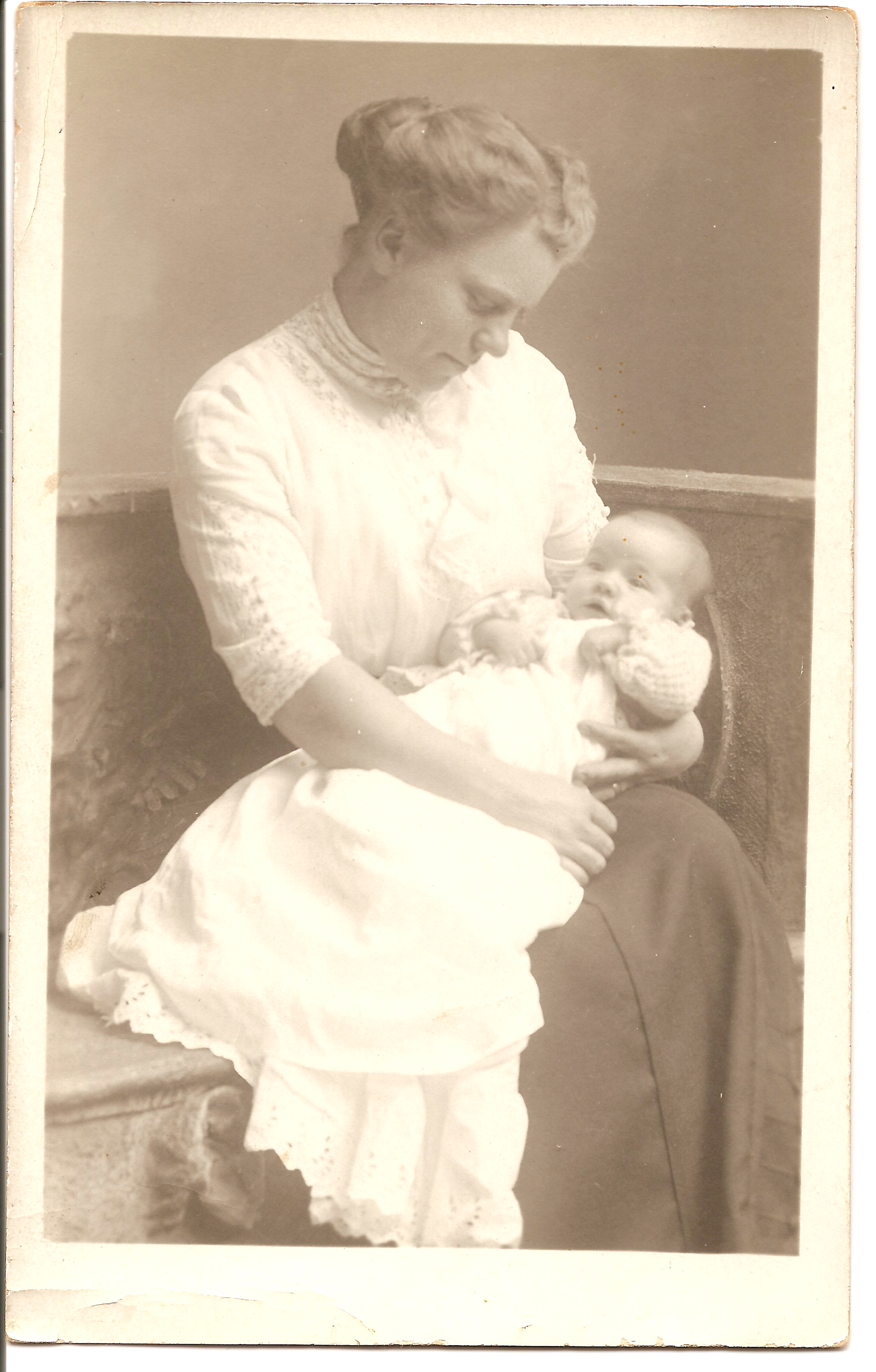 Emma Drake holding her son Edwin