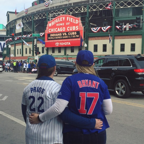 My sister and I before the World Series game 5 on Sunday, Oct. 30.