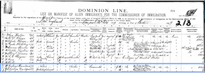 Passenger Manifest for Andreas and Kristina Danielsson