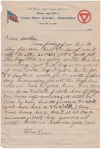 Undated letter from sometime in September 1917 from Glenn Kaiser to his mother