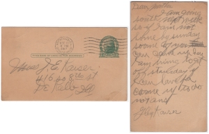 Postcard dated 19 October 1917 from Glen Kaiser to his mother