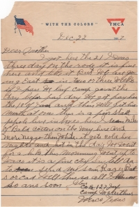 Letter dated 22 December 1917 from Glen Kaiser to his mother