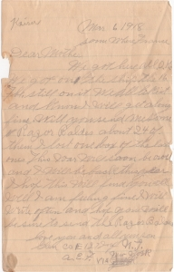 Letter dated 6 March 1918 from Glenn to his mother
