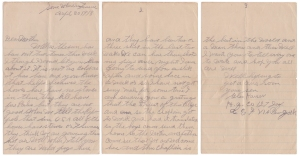 Letter dated 30 April 1918 from Glen Kaiser to his mother
