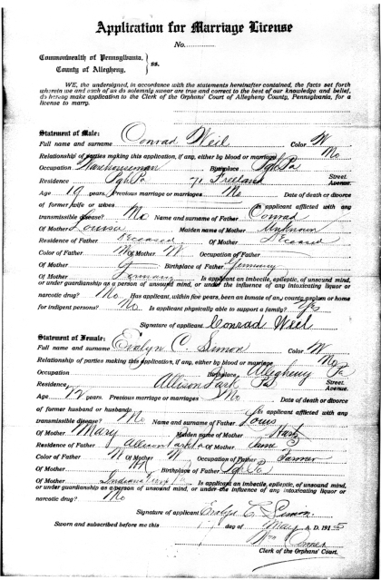 Weil_Conrad_Evalyn_1915_MarriageLicense_AlleghenyCo_p2