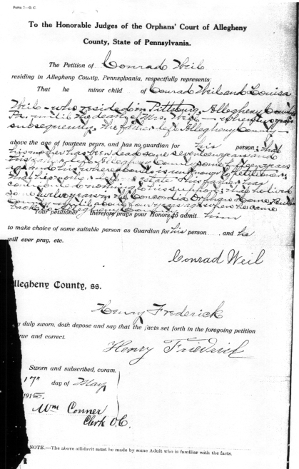 Weil_Conrad_Evalyn_1915_MarriageLicense_AlleghenyCo_p4