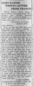 Letter from Glenn to his mother, published in the DeKalb Daily Chronicle 31 May 1918