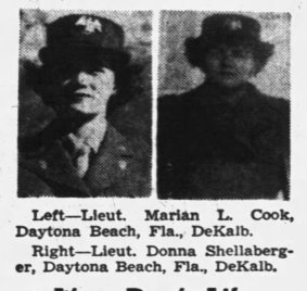 WAC Lieut. Marian Cook and Donna Shellaberger (Photos: Daily Chronicle, 20 Mar 1943, p. 3, clipped from Newspapers.com)