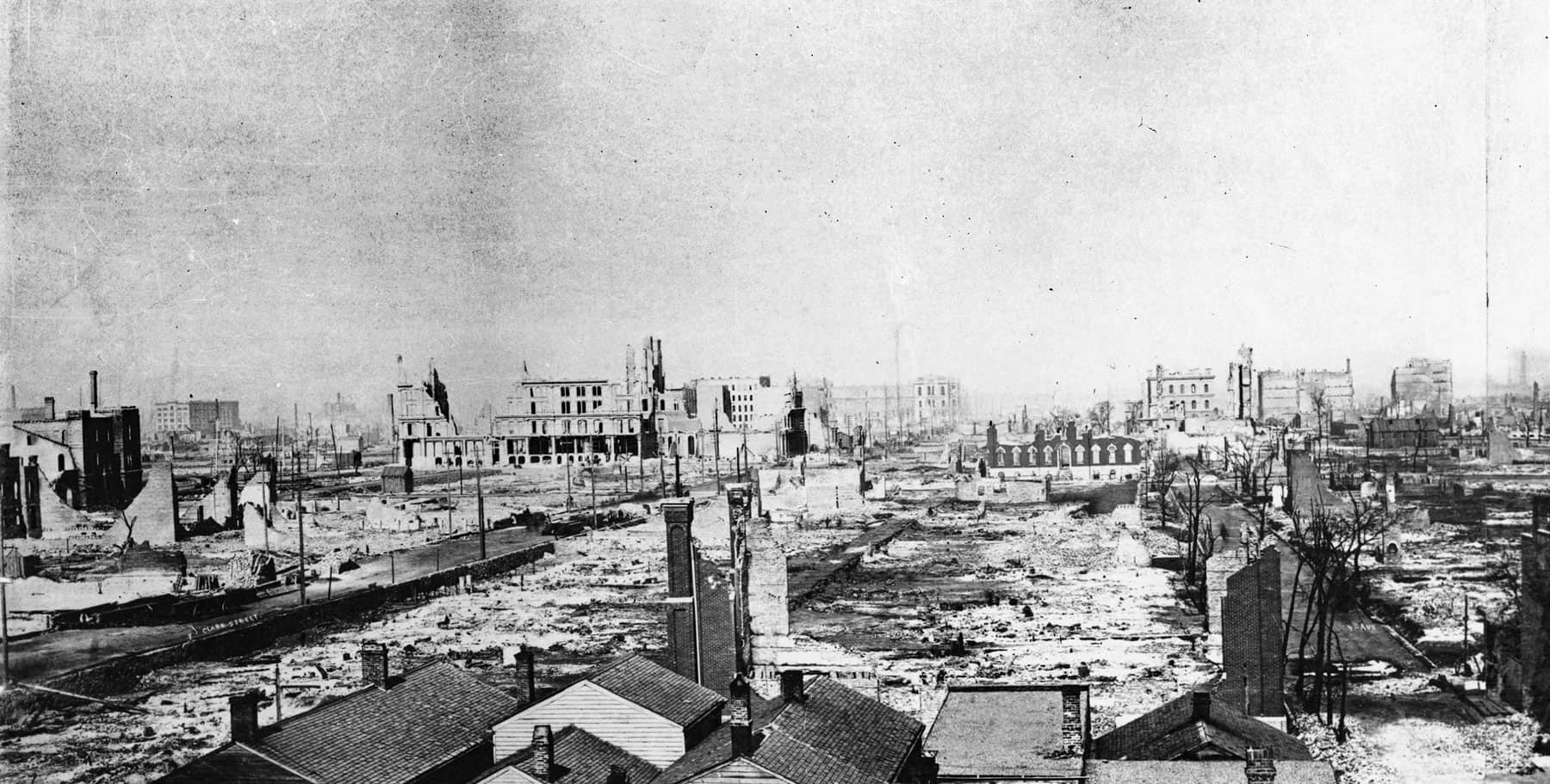 Photo of ruins of the Chicago Fire