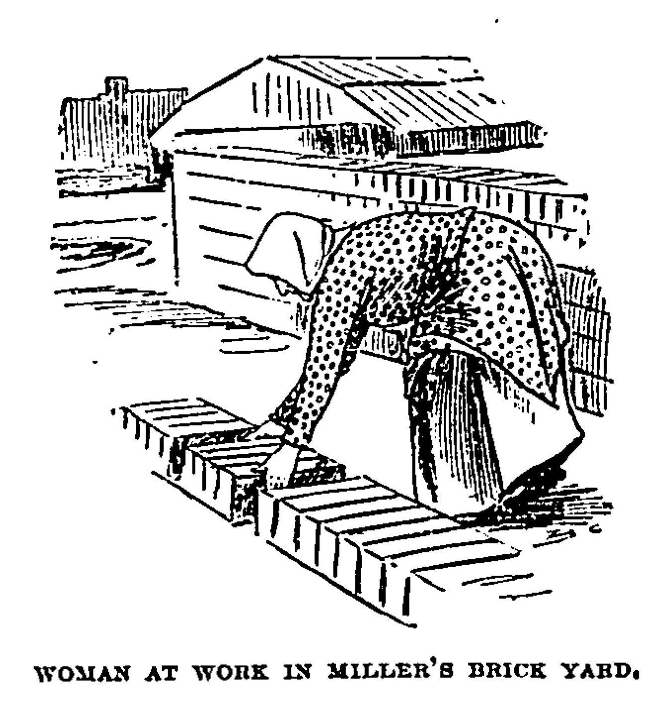 Woman bending down to turn bricks